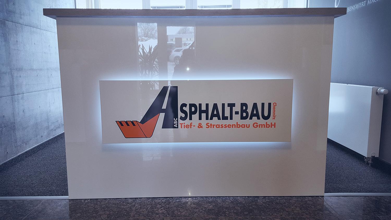 Tresenbeschriftung Asphalt-Bau Chemnitz